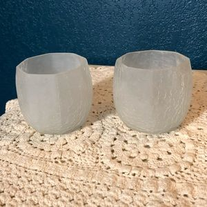 Frosted glass tea light candle holders